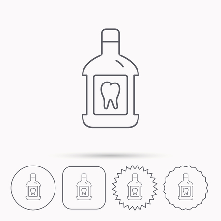 antibacterial: Mouthwash icon. Oral antibacterial liquid sign. Linear circle, square and star buttons with icons.