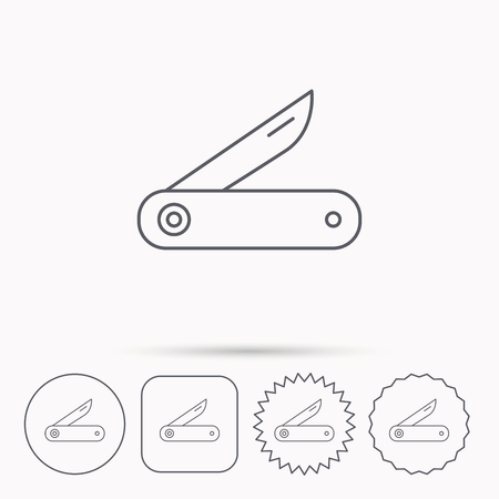 multipurpose: Multitool knife icon. Multifunction tool sign. Hiking equipment symbol. Linear circle, square and star buttons with icons.