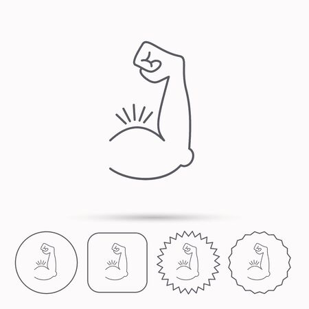 strong arm: Biceps muscle icon. Bodybuilder strong arm sign. Weightlifting fitness symbol. Linear circle, square and star buttons with icons.