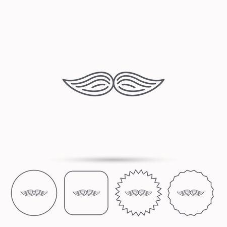 gent: Mustache icon. Hipster symbol. Gentleman sign. Linear circle, square and star buttons with icons. Illustration