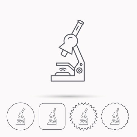 criminology: Microscope icon. Medical laboratory equipment sign. Pathology or scientific symbol. Linear circle, square and star buttons with icons. Illustration