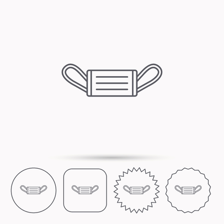 Medical mask icon. Epidemic sign. Illness protection symbol. Linear circle, square and star buttons with icons.