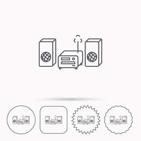 cd recorder: Music center icon. Stereo system sign. Linear circle, square and star buttons with icons. Illustration