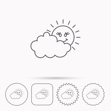 overcast: Cloudy day with sun icon. Overcast weather sign. Meteorology symbol. Linear circle, square and star buttons with icons. Illustration