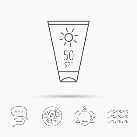 sun cream: Sun cream container icon. Beach lotion sign. Global connect network, ocean wave and chat dialog icons. Teamwork symbol.