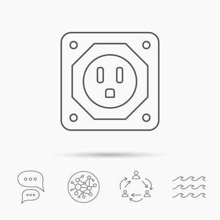 adapter: USA socket icon. Electricity power adapter sign. Global connect network, ocean wave and chat dialog icons. Teamwork symbol. Illustration