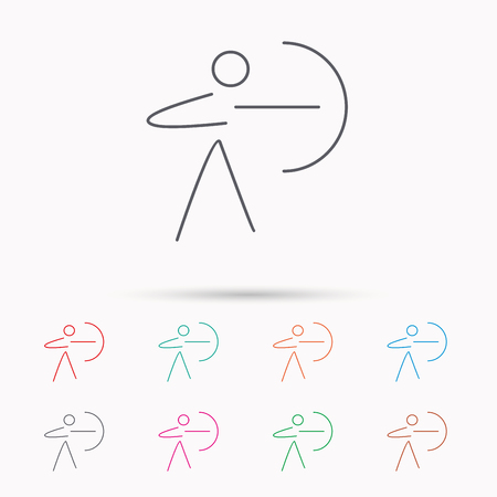 bowman: Archery sport icon. Archer with longbow sign. Aiming or targeting symbol. Linear icons on white background. Illustration