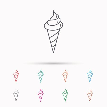 frozen dessert: Ice cream icon. Sweet dessert in waffle cone sign. Frozen food symbol. Linear icons on white background.