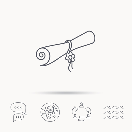 postgraduate: Diploma icon. Graduation document sign. Scroll symbol. Global connect network, ocean wave and chat dialog icons. Teamwork symbol. Illustration