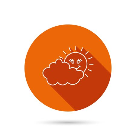 overcast: Cloudy day with sun icon. Overcast weather sign. Meteorology symbol. Round orange web button with shadow. Illustration