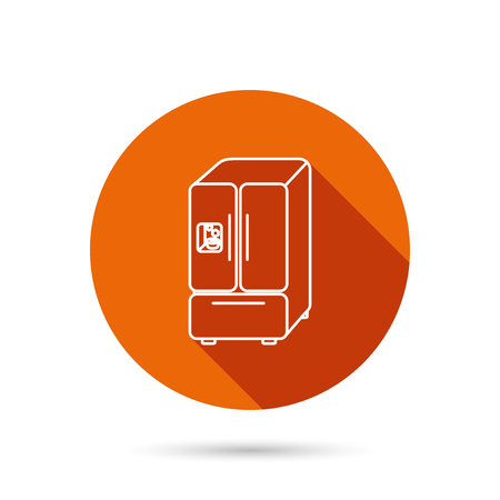 American fridge icon. Refrigerator with ice sign. Round orange web button with shadow.