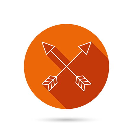 darts flying: Bow arrows icon. Hunting sport equipment sign. Archer weapon symbol. Round orange web button with shadow. Illustration