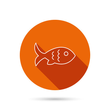 aquaculture: Fish with fin and scales icon. Seafood sign. Vegetarian food symbol. Round orange web button with shadow. Illustration