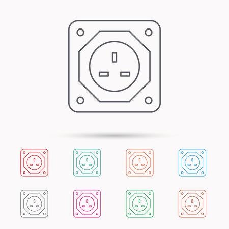 Elektro-Stecker-Symbol. Europäische Buchse Zeichen. Linear-Symbole ...