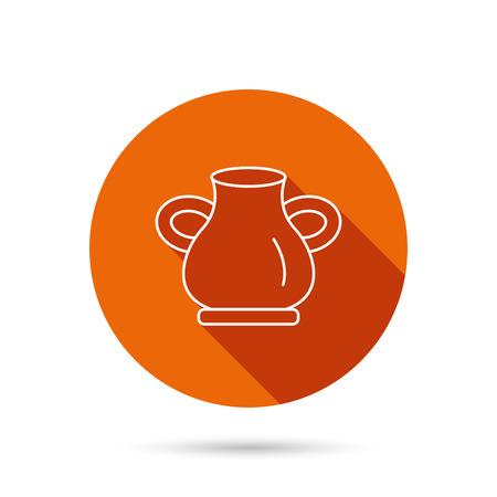 amphora: Vase icon. Decorative vintage amphora sign. Round orange web button with shadow. Illustration
