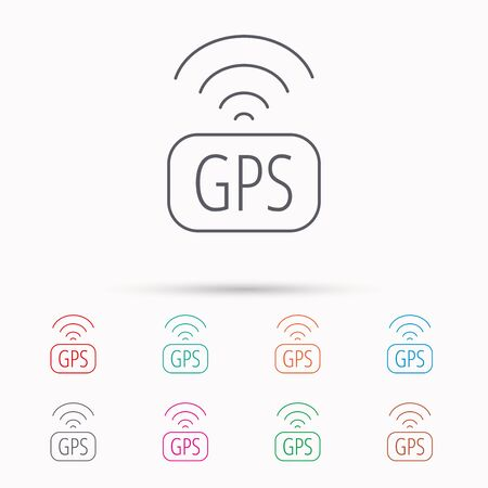 positioning: GPS navigation icon. Map positioning sign. Wireless signal symbol. Linear icons on white background.