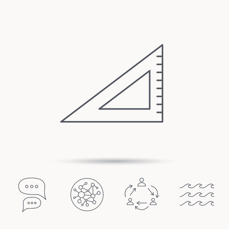 straightedge: Triangular ruler icon. Straightedge sign. Geometric symbol. Global connect network, ocean wave and chat dialog icons. Teamwork symbol. Illustration