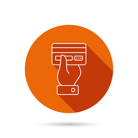 cashless: Credit card icon. Giving hand sign. Cashless paying or buying symbol. Round orange web button with shadow. Illustration