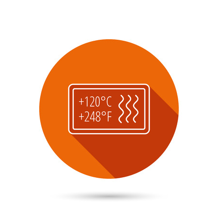 resistant: Heat resistant icon. Microwave or dishwasher information sign. Attention symbol. Round orange web button with shadow. Illustration