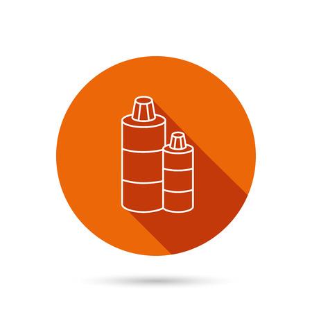 shampoo bottles: Shampoo bottles icon. Liquid soap sign. Round orange web button with shadow.