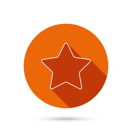 favorites: Star icon. Add to favorites sign. Astronomy symbol. Round orange web button with shadow.