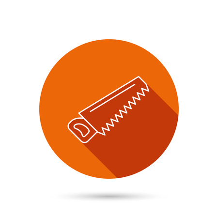 crosscut: Saw icon. Carpentry equipment sign. Hacksaw symbol. Round orange web button with shadow.