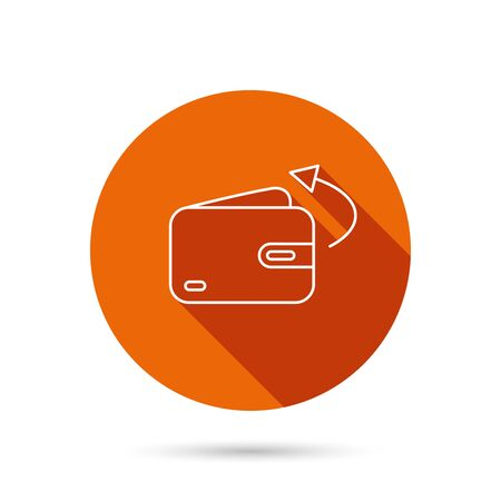 Send money icon. Cash wallet sign. Round orange web button with shadow.