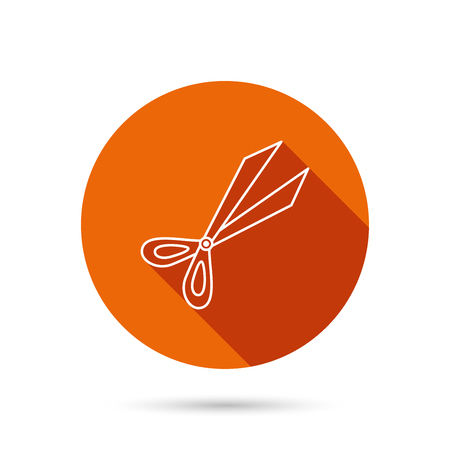 secateurs: Gardening scissors icon. Secateurs tool sign symbol. Round orange web button with shadow. Illustration