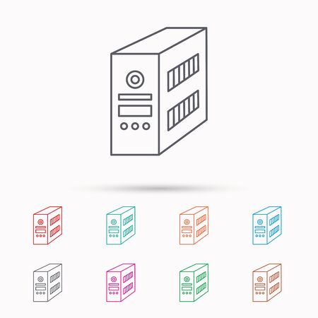 pc case: Computer server icon. PC case or tower sign. Linear icons on white background. Illustration