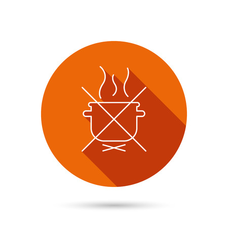 do cooking: Boiling saucepan icon. Do not boil water sign. Cooking manual attenction symbol. Round orange web button with shadow.