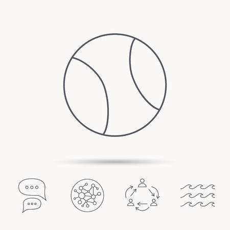 team game: Tennis equipment icon. Sport ball sign. Team game symbol. Global connect network, ocean wave and chat dialog icons. Teamwork symbol. Illustration
