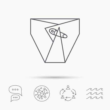 pampers: Diaper with pin icon. Child underwear sign. Newborn protection symbol. Global connect network, ocean wave and chat dialog icons. Teamwork symbol. Illustration