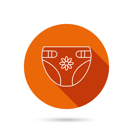 incontinence: Diaper with flower icon. Child underwear sign. Newborn protection symbol. Round orange web button with shadow. Illustration