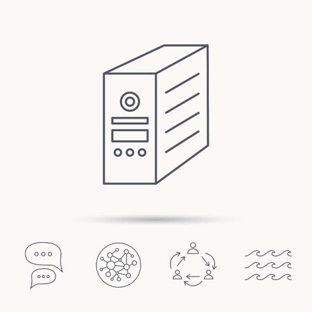 pc case: Computer server icon. PC case or tower sign. Global connect network, ocean wave and chat dialog icons. Teamwork symbol.