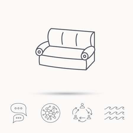 chat room: Sofa icon. Comfortable couch sign. Furniture symbol. Global connect network, ocean wave and chat dialog icons. Teamwork symbol. Illustration