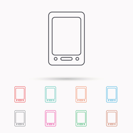 touchscreen: Tablet PC icon. Touchscreen pad sign. Linear icons on white background. Illustration
