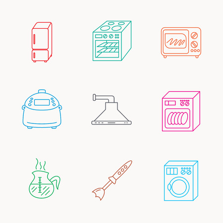 warmer: Microwave oven, washing machine and blender icons. Refrigerator fridge, dishwasher and multicooker linear signs. Coffee icon. Linear colored icons.
