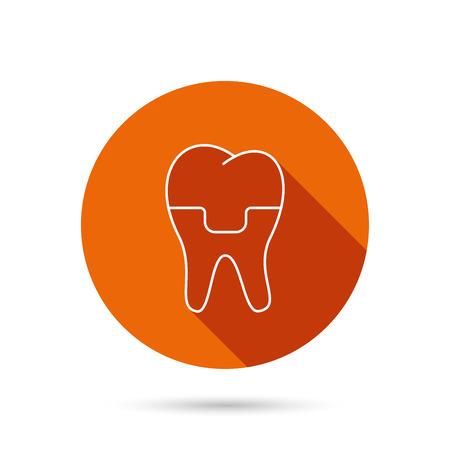 alumina: Dental crown icon. Tooth prosthesis sign. Round orange web button with shadow. Illustration
