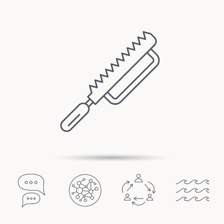 sea saw: Fretsaw icon. Carpenter work tool sign. Global connect network, ocean wave and chat dialog icons. Teamwork symbol.