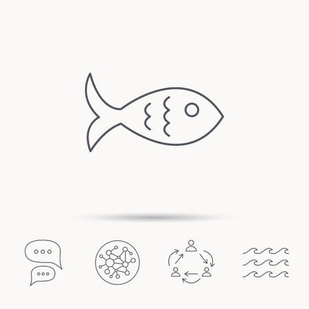 aquaculture: Fish icon. Seafood sign. Vegetarian food symbol. Global connect network, ocean wave and chat dialog icons. Teamwork symbol.