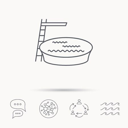 jumping into water: Swimming pool icon. Jumping into water sign. Global connect network, ocean wave and chat dialog icons. Teamwork symbol. Illustration