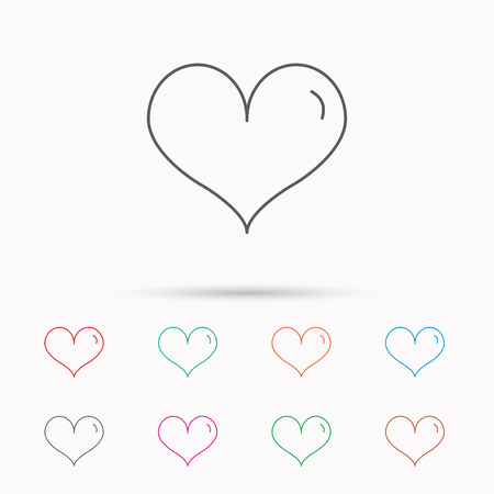 february 1: Heart icon. Love sign. Life symbol. Linear icons on white background.