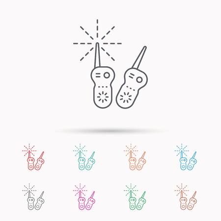 nanny: Baby monitor icon. Nanny for newborn sign. Radio set symbol. Linear icons on white background.