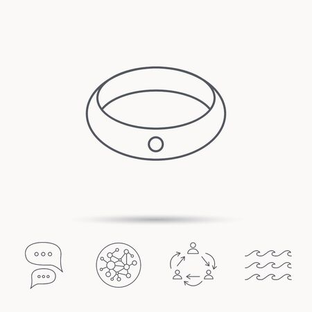 jewelery: Diamond engagement ring icon. Jewelery sign. Global connect network, ocean wave and chat dialog icons. Teamwork symbol. Illustration