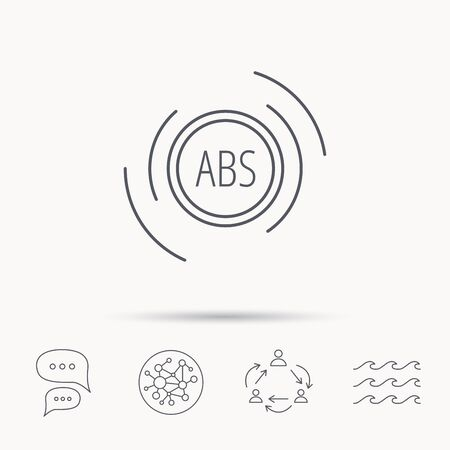 malfunction: ABS icon. Brakes antilock system sign. Global connect network, ocean wave and chat dialog icons. Teamwork symbol. Illustration