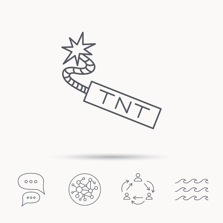 detonate: TNT dynamite icon. Bomb explosion sign. Global connect network, ocean wave and chat dialog icons. Teamwork symbol. Illustration