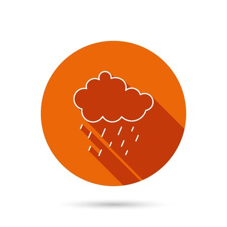 overcast: Rain icon. Water drops and cloud sign. Rainy overcast day symbol. Round orange web button with shadow. Illustration
