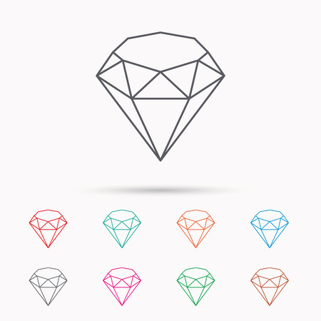 brilliant: Brilliant icon. Diamond gemstone sign. Linear icons on white background. Illustration