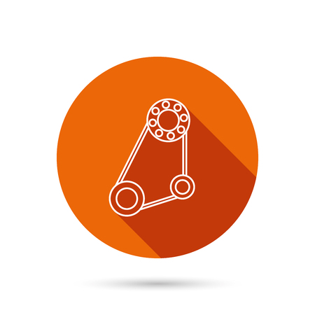 timing: Timing belt icon. Generator strap sign. Repair service symbol. Round orange web button with shadow.