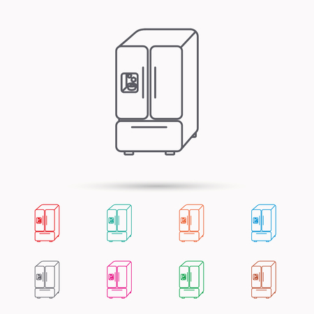 frig: American fridge icon. Refrigerator with ice sign. Linear icons on white background.